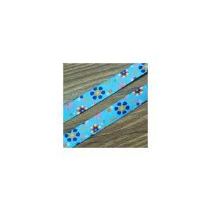 17お花のチロルテープ 幅16mm ブルー(10ヤード) yu-beads-parts