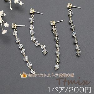 ガラス×メタルチャームの樹脂ノンホールピアス|yu-beads-parts