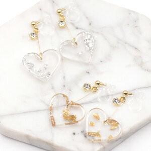 ストーン×金箔銀箔ハートアクリルチャームの樹脂ノンホールピアス|yu-beads-parts