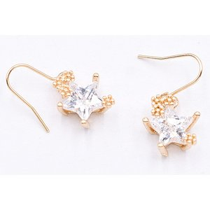 高品質ジルコニアピアス 星型チャーム ゴールド/クリスタル|yu-beads-parts|02
