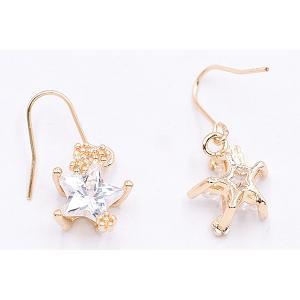 高品質ジルコニアピアス 星型チャーム ゴールド/クリスタル|yu-beads-parts|03