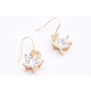 高品質ジルコニアピアス 星型チャーム ゴールド/クリスタル|yu-beads-parts|04