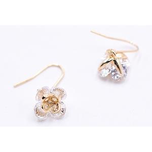 高品質ジルコニアピアス デザインチャーム ゴールド/クリスタル|yu-beads-parts|04