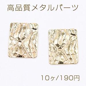高品質メタルパーツ プレート 模様入り長方形 1穴 14×18mm ゴールド【10ヶ】|yu-beads-parts