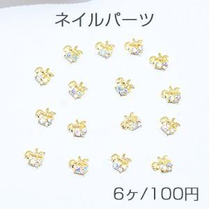 ネイルパーツ メタルパーツ ヒトデとシェル ストーン付き ゴールド【6ヶ】|yu-beads-parts