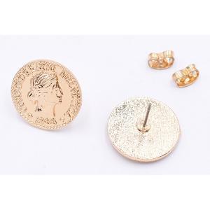 チタンピアス金具 コイン 17mm ゴールド【4ヶ】|yu-beads-parts|03