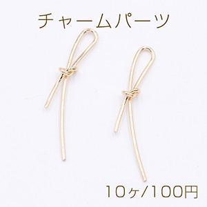 チャームパーツ リボン 6×43mm ゴールド【10ヶ】|yu-beads-parts