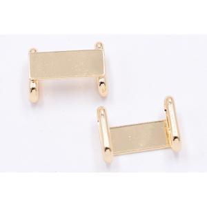 帯留め 金具 台座パーツ 長方形 8×20mm ゴールド【1ヶ】|yu-beads-parts|04