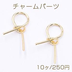 チャームパーツ リボン 14×26mm ゴールド【10ヶ】|yu-beads-parts
