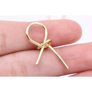 チャームパーツ リボン 14×26mm ゴールド【10ヶ】|yu-beads-parts|04