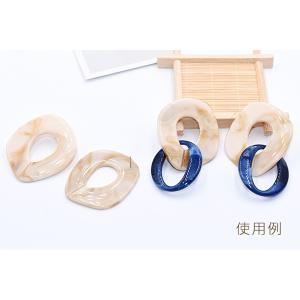 チタンピアス金具 アクリルピアス チェーン 47×52mm ベージュ【4ヶ】 yu-beads-parts 05