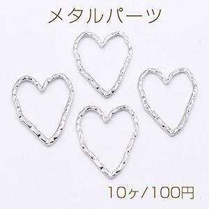 メタルパーツ 模様入りハートフレーム 32×24mm ロジウム【10ヶ】 yu-beads-parts