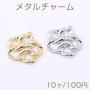 ピアス金具 不規則フープ 11×13mm ゴールド【4ヶ】 yu-beads-parts