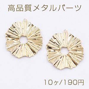高品質メタルパーツ プレート 花模様 カン付き 18×20mm ゴールド【10ヶ】|yu-beads-parts