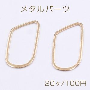 メタルパーツ フレーム 不規則 16×28mm ゴールド【20ヶ】|yu-beads-parts