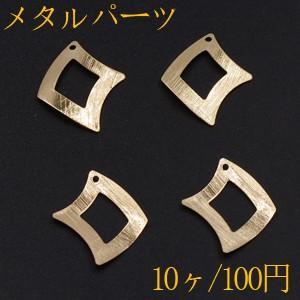 メタルパーツ プレート 変形菱形フレーム 1穴 22×25mm ゴールド【10ヶ】|yu-beads-parts