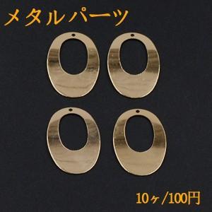 メタルパーツ プレート 抜きオーバル 1穴 20×30mm ゴールド【10ヶ】|yu-beads-parts