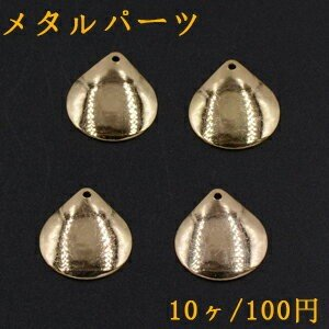 メタルパーツ プレート 雫 1穴 17×18mm ゴールド【10ヶ】|yu-beads-parts