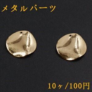 メタルパーツ プレート ウェーブラウンド 1穴 20mm ゴールド【10ヶ】|yu-beads-parts