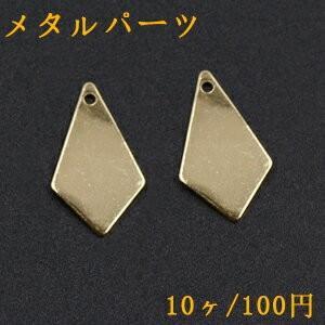 メタルパーツ プレート 変形ひし形 1穴 12×22mm ゴールド【10ヶ】|yu-beads-parts