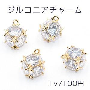 ジルコニアチャーム デザイン 10×13mm ゴールド/ホワイト【1ヶ】|yu-beads-parts