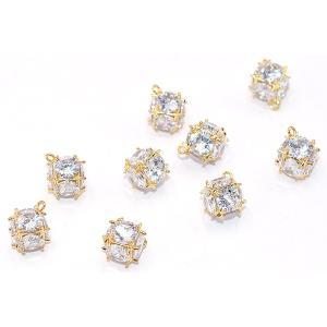 ジルコニアチャーム デザイン 10×13mm ゴールド/ホワイト【1ヶ】|yu-beads-parts|03