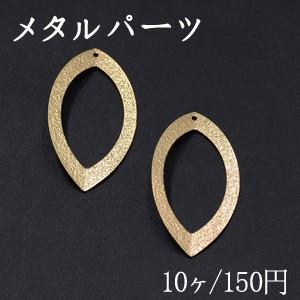 メタルパーツ プレート スクラブ リーフフレーム 1穴 22×40mm ゴールド【10ヶ】|yu-beads-parts