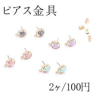 ピアス金具 正方形 アクリルフラワー カン付 ゴールド【2ヶ】 yu-beads-parts