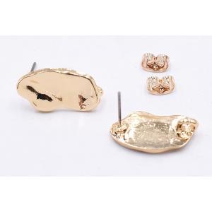 チタンピアス金具 不規則 11×20mm カン付き ゴールド【4ヶ】|yu-beads-parts|02