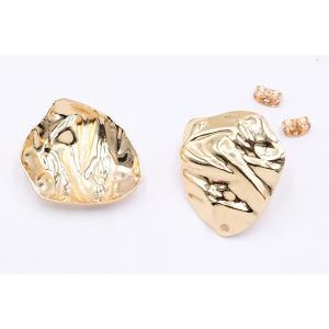 チタンピアス金具 不規則 1穴 24×28mm ゴールド【4ヶ】|yu-beads-parts|03