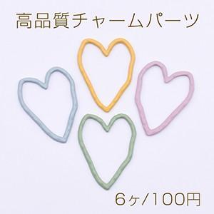 高品質チャームパーツ 塗装ハートフレーム 24×31mm ラバー風【6ヶ】|yu-beads-parts
