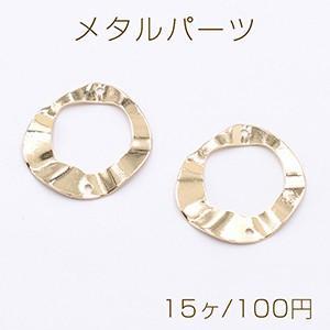 メタルパーツ プレート 変形丸フレーム 2穴 26×27mm ゴールド【15ヶ】|yu-beads-parts