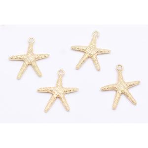 チャームパーツ 海洋生物シリーズ ヒトデ 21×26mm ゴールド【10ヶ】|yu-beads-parts|02
