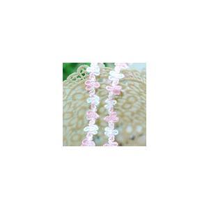 ブレード 幅約1.5cm ピンク/ホワイト 017(5m)|yu-beads-parts