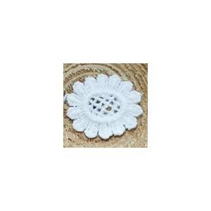 レースワッペンモチーフ フラワー4 ホワイト|yu-beads-parts