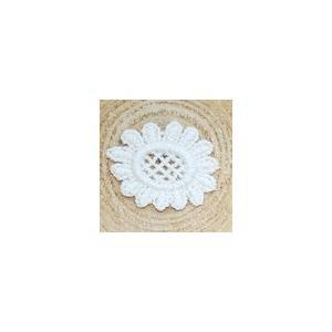 レースワッペンモチーフ フラワー4 クリーム|yu-beads-parts