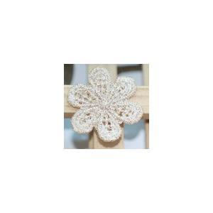 レースワッペンモチーフ フラワー10 ベージュ|yu-beads-parts