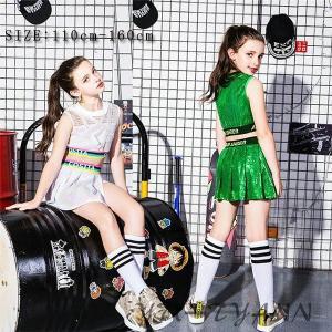 キッズ ダンス衣装 ヒップホップ キラキラ スパンコール 女の子 スカート 子供 HIPHOP チア チアガール セットアップ ジャズダンス 応援団 ステージ衣装|yu-tyann