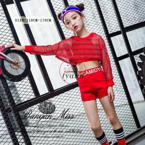 キッズ ダンス衣装 ヒップホップ HIPHOP 子供 長袖 セットアップ ジャズダンス Tシャツ パンツ 女の子 演出服 練習着 ステージ衣装 yu-tyann