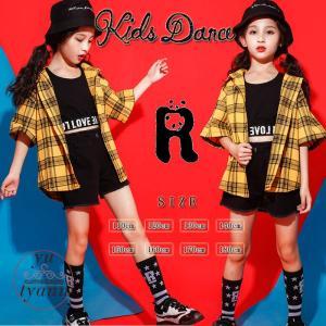 キッズダンス衣装 ヒップホップ HIPHOP キッズ ダンス衣装 子供 セットアップ タンクトップ パンツ 半袖 女の子 練習着 体操服 ジャズダンス衣装|yu-tyann