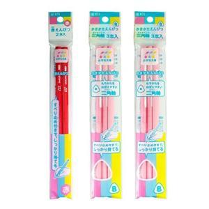 サクラクレパス かきかた鉛筆 B 三角軸 ピンク+赤鉛筆 GエンピツBアカ#20|yu-yu-stoa