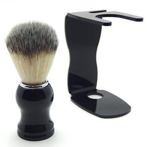泡立ちが違う 100% アナグマ 毛 シェービング ブラシ スタンド付き / 理容 洗顔 髭剃り マッサージ 効果|yu-yu-stoa