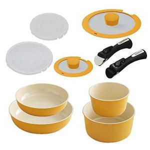 【セット買い】アイリスオーヤマ 鍋 フライパン セット 「セラミックカラーパン」 取っ手の取れる オレンジ セット9 + 専用取っ手 ブラック|yu-yu-stoa