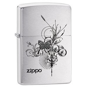 ZIPPO(ジッポー)24800 Butterfly-Artsy Design 蝶/チョウ ブラッシュクローム/つや消し ZIPPO ロゴ FULL SIZE ZIPPO LIGHTER/ジッポライター[並行輸入品] yu-yu-stoa