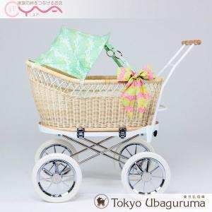 東京乳母車 プスプス スタンダード本体+モス柄 ひなぎく ストライプ柄幌 ベビーカー 双子用 二人乗り B型 A型 新生児 ベビーベッド yua-shop