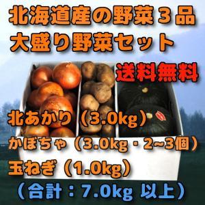 北海道産 野菜セット 3品 合計 7kg 前後 北あかり 3kg きたあかり 新じゃがいも かぼちゃ...