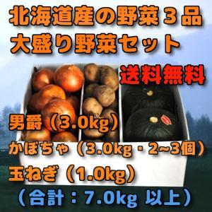 北海道産 野菜セット 3品 合計 7kg 前後 男爵  3kg だんしゃく 新じゃがいも かぼちゃ ...