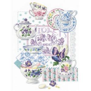BK769「Crockery and Violets」DMCクロスステッチキット (メール便可/お取り寄せ)