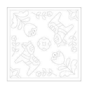 北欧モチーフの花ふきん布パック「H-1029 ダーナラホース」白1枚入 オリムパス (メール便可/在庫限り)|yucasiho