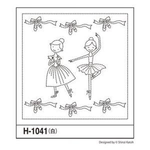 可愛い刺し子花ふきん布パック「H-1041 バレリーナレッスン」白1枚入 オリムパス (メール便可/在庫限り)|yucasiho